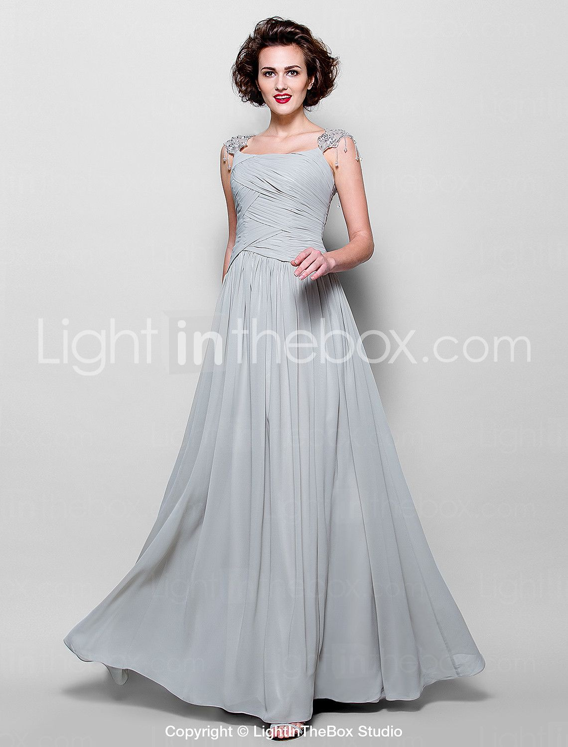 A-line Plus Sizes / Petite Mother of the Bride Dress - Silver Floor-length Sleeveless Chiffon / Lace 2015 – $139.99