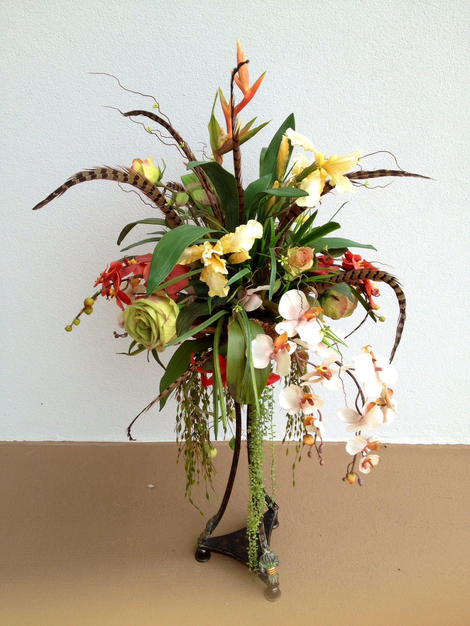 Silk Arrangements For Home Decor tropical floral arrangement Decor