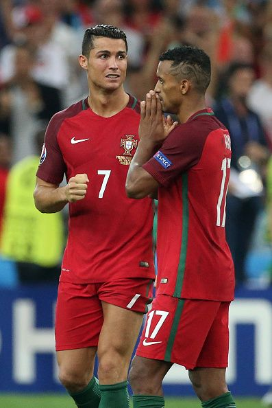 4473a42b79b  EURO2016 Cristiano Ronaldo and Nani of Portugal react during the penalty  shootout concluding the UEFA Euro 2016 quarter final match between Poland  and.