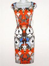 Maggy London Dress Stretch Sheath Orange Blue Ikat Watercolor