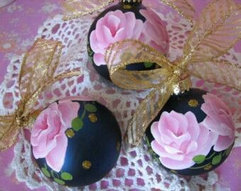 Hand-painted glass globe ornaments - pink roses on a glitter polka dot background
