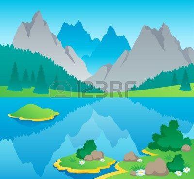 Fotomural Paisaje de montaña Tema 6 - ilustración vectorial.