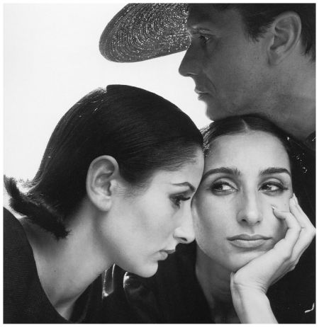 Naty Abascal and twin sister Ana-Maria Abascal with Helio Guerreiro, hair by Enny of Italy, photo by Avedon in Ibiza, Spain, September, 1964