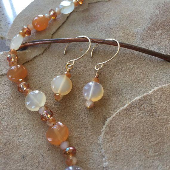 Handmade Carnelian Earrings on Gold Filled by WanderlustCandG
