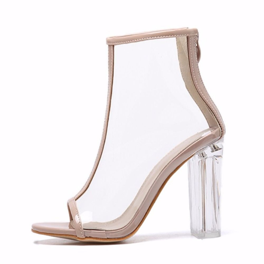 Sexy Kim Kardashian Sandal Women Style PVC Clear Transparent High Heel  Sandals Plus Size Stilettos Women