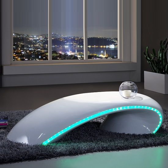 Gretton Curve Coffee Table In White High Gloss With Led Lighting