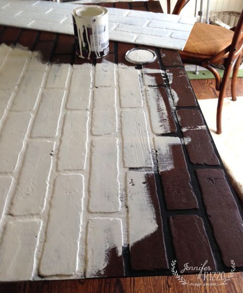 painting faux brick for a faux fireplace insert | Diy and home ...