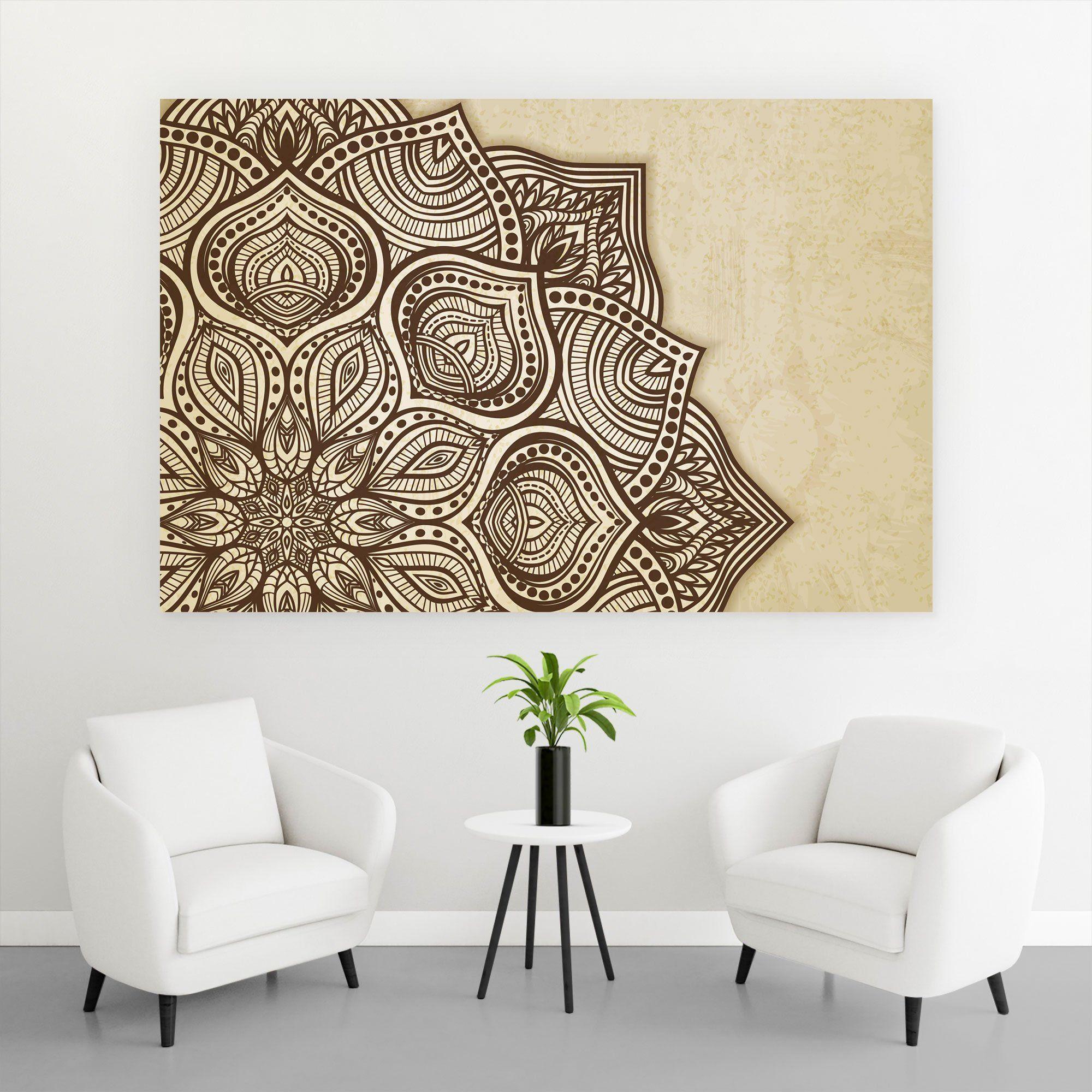 Aluminiumbild Mandala Braun Querformat   60 x 40 cm Original