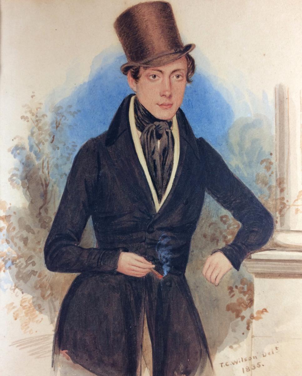 Miniature Americaine Signee T C Wilson 1835 Portrait D Un Jeune