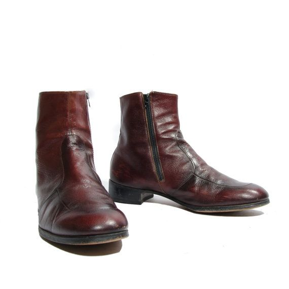 33b712ea82f 60's 70's Vintage Men's Ankle Boots Cordovan Zipper Beatle Boots by ...