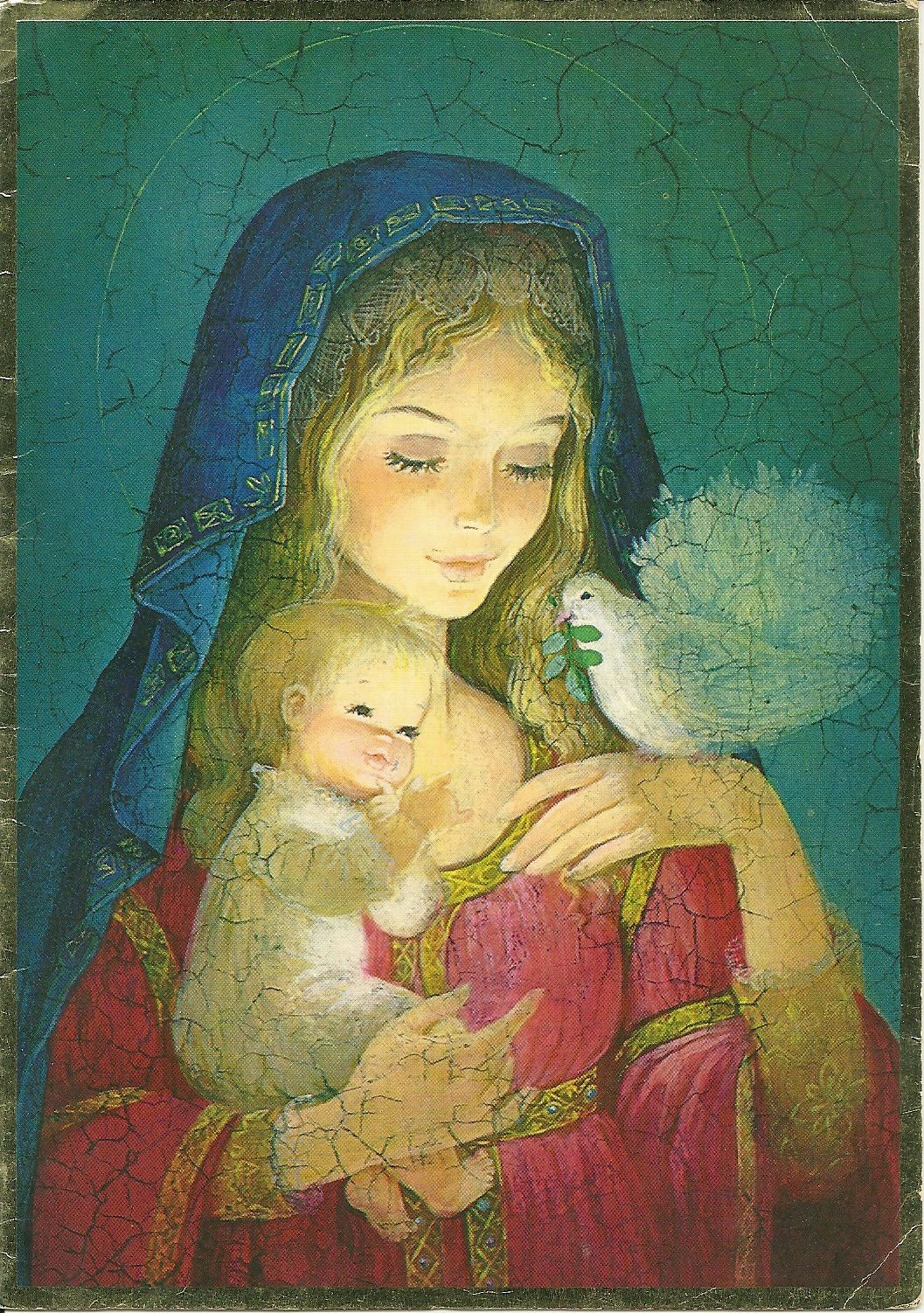 Vintage Christmas Card - Madonna and Child | Beautiful Mother Mary ...