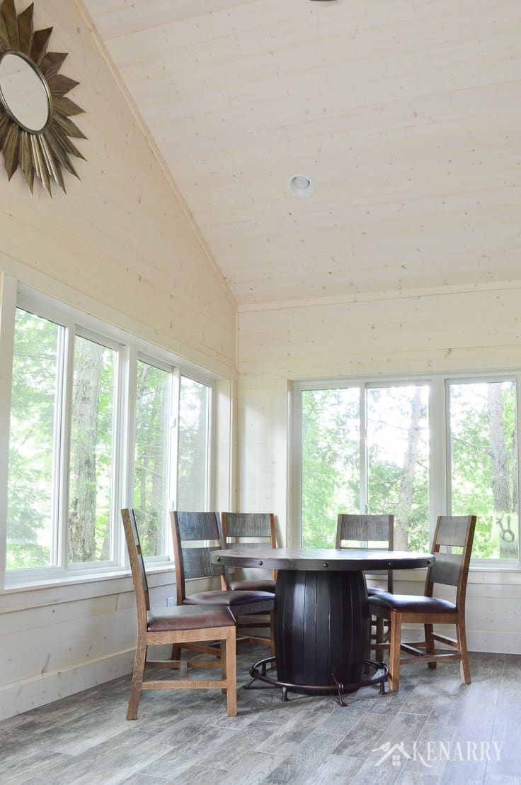 Vaulted ceiling and shiplap walls in a