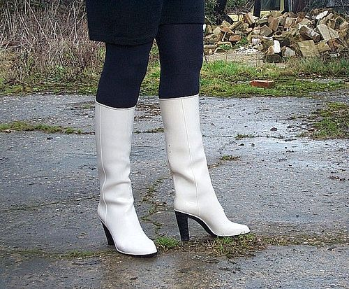 Me in my white Niagarras #6 | Boots, Rubber boots, High heel