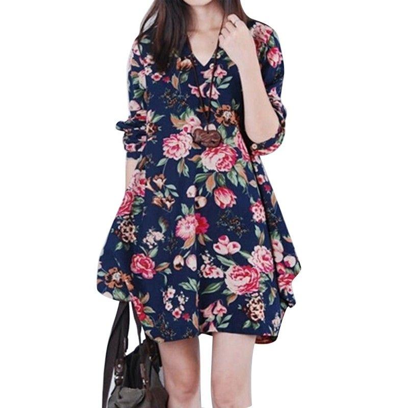 Womens Loose Linen Shirt Long Sleeve Floral V-Neck Pregnant Maternity Dress Hot