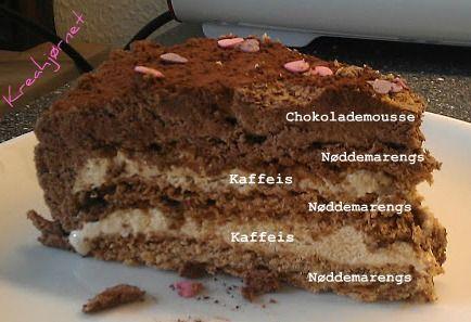 Kreahjørnet: Kaffe-islagkage med nøddemarengs og chokolademousse