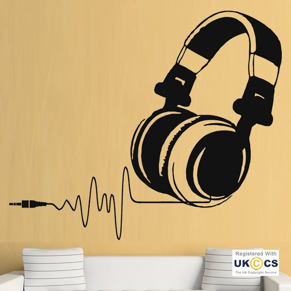 Music Headphones Beat Heart Kids Bedroom Cool Wall Art Stickers ...