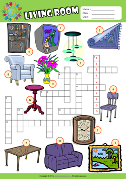 Living Room Crossword Puzzle Esl Vocabulary Worksheet