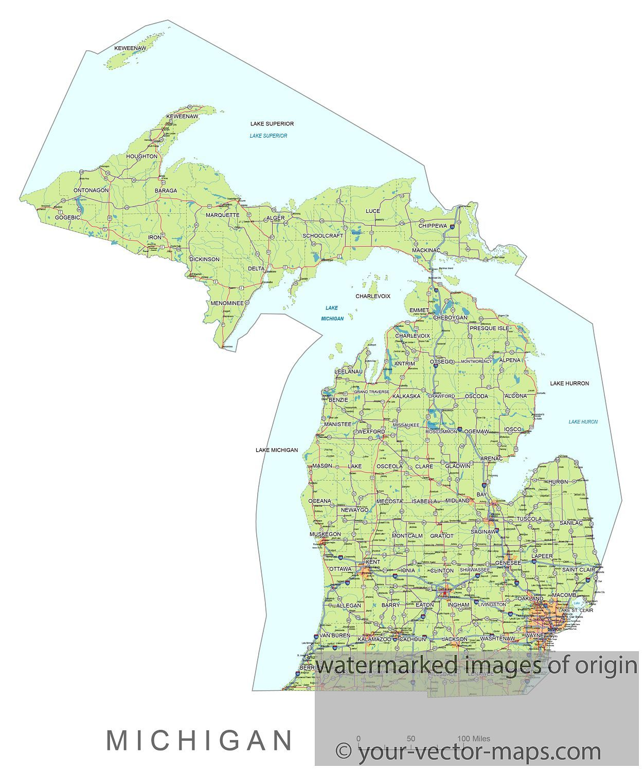 Michigan state route network map. Michigan highways map. Cities of ...