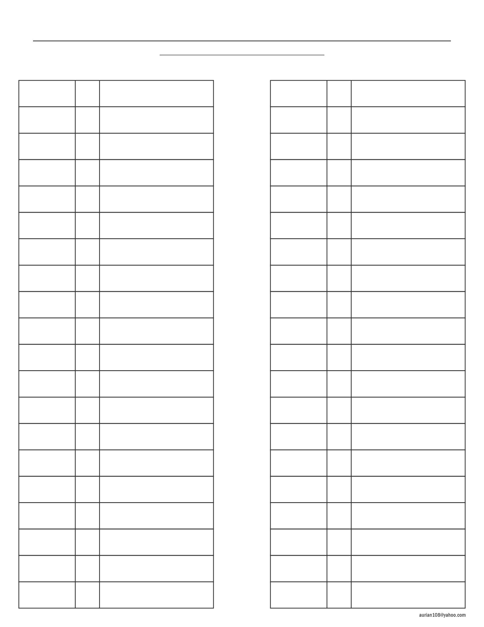 Blank two column table chart - Free Blank Color Pencil Chart