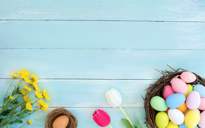 Download Wallpapers Easter Eggs Blue Background Spring