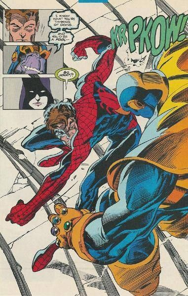 Spider-Man punches Thanos   Marvel comics superheroes