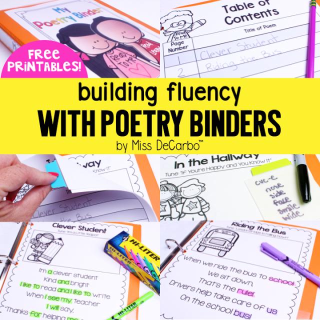 Building Fluency With Poetry Binders (Free Printables