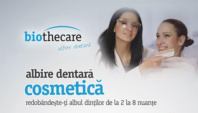 """Biothecare """"Albire dentară"""" A dezvoltat cel mai sigur, rapid și eficient sistem în albirea profesională a dinților. Acum la dispoziția d-voastră în centrele BIOTHECARE pentru un preț fantastic. Dacă dinții d-voastră și-au schimbat culoarea datorită cafelei, ceaiului, tutunului, vinului roșu sau este doar efectul trecerii anilor, Biothecare Albire Dentară folosește cea mai nouă tehnologie americană cu un sistem de acțiune triplu, ce vă asigură un zâmbet perfect în doar câteva minute."""