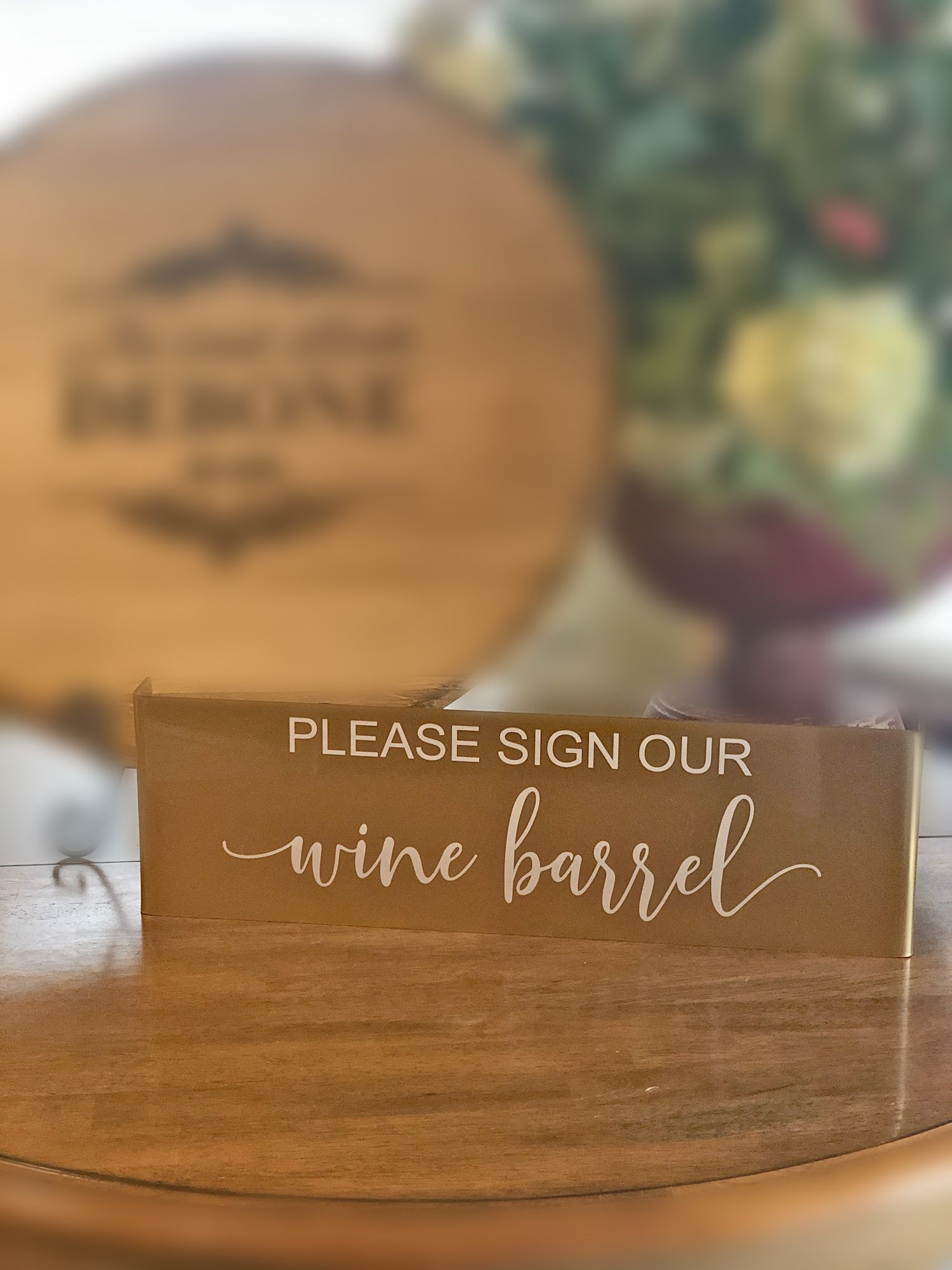 Please Sign Our Guestbook Sign Our Wine Barrel Lid Alternate Guestbook Acrylic Sign Bent Acrylic Sign Gold Accent Wedding Sign Guest Book Sign Guest Book Acrylic Sign