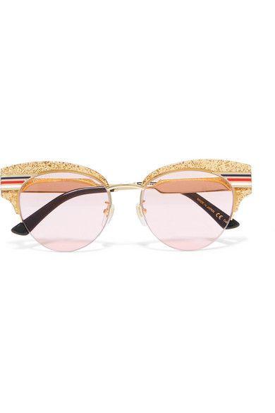 0414743d6b Gucci - Cat-eye glittered acetate and gold-tone sunglasses in 2019 ...