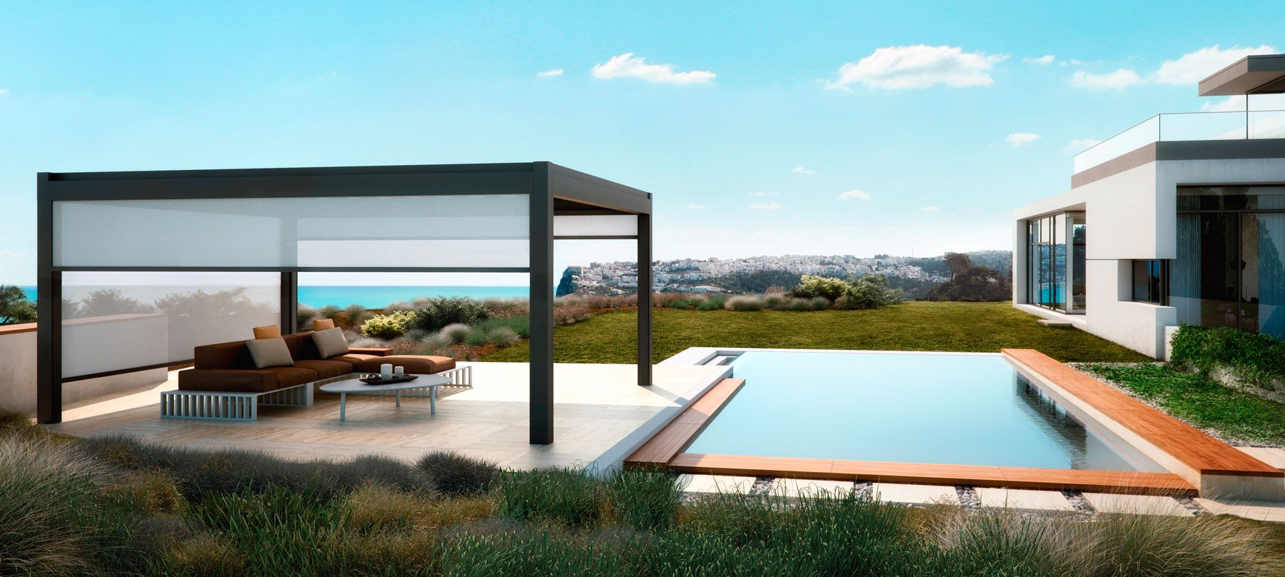 Maximise The Use Of Your Garden With An Automated Patio Roof Iq Outdoor Living Outdoor Pergola Aluminum Pergola Modern Pergola