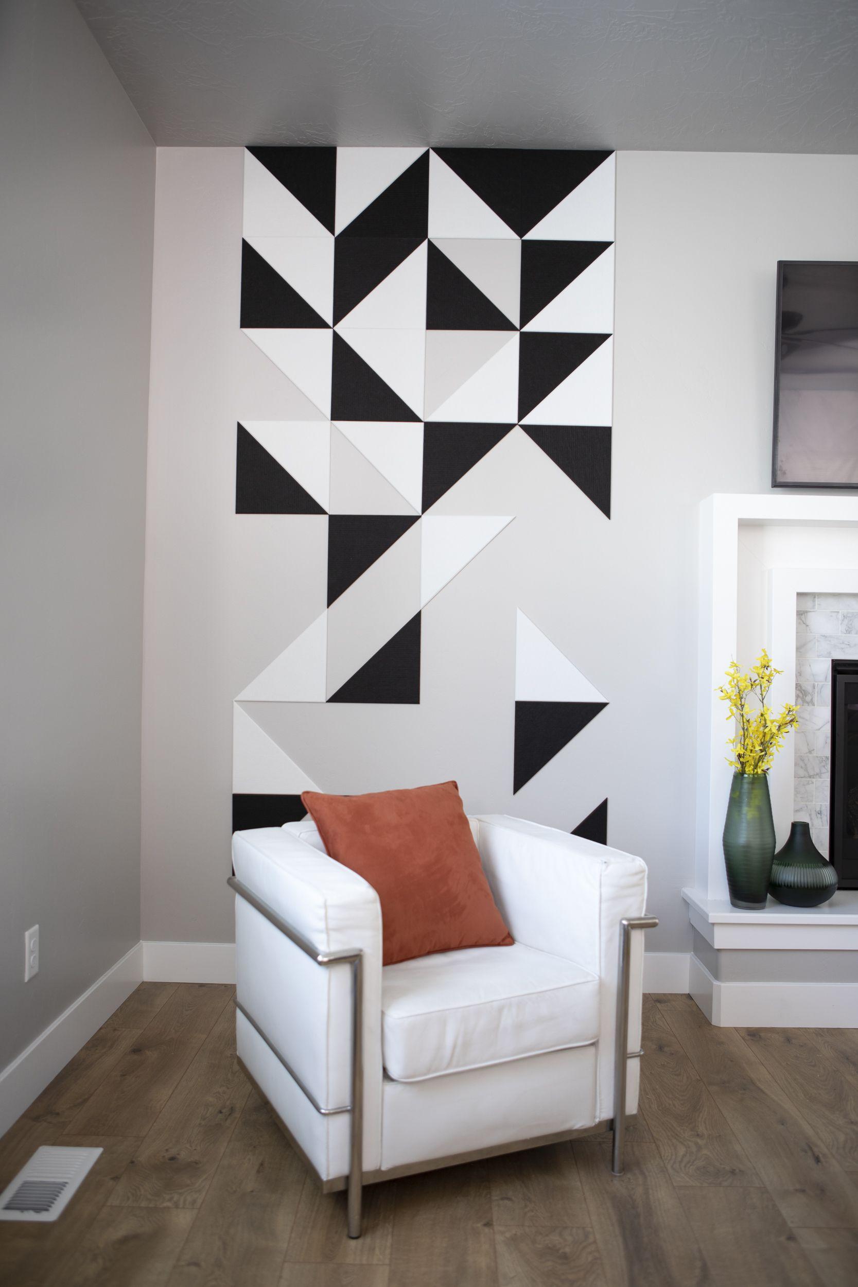 Geometric Triangle Art | Commercial interior design, Wall ...