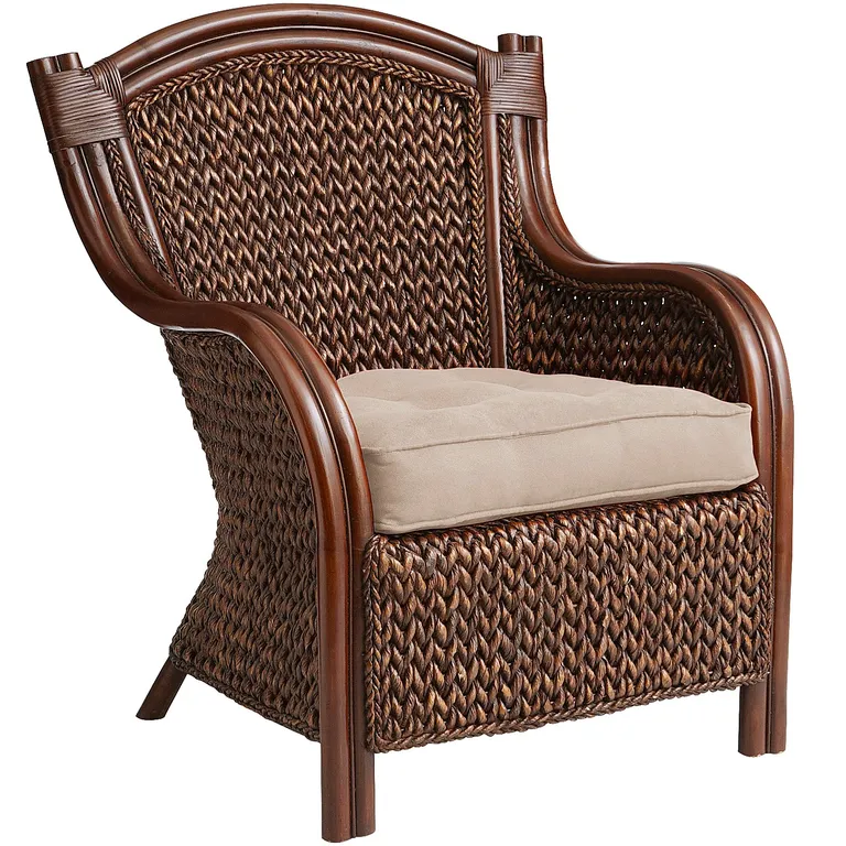 Rich Color And Texture Are Hallmarks Of Our Stately King Furniture This Armchair Is Crafted From Indonesia Chair Wicker Armchair Accent Chairs For Living Room