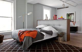 Freestanding Headboard Bedroom Interior Bed In Middle Of Room Living Room And Bedroom In One