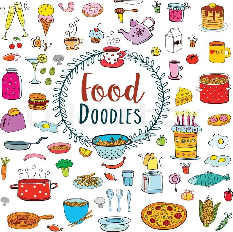Doodle food set of 80 various products fruits vegetables for Monster high zimmerdeko
