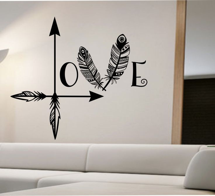 awesome arrow feather love wall decal namaste vinyl sticker art decor bedroom design mural home decor - Designs For Room Walls