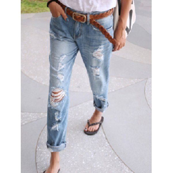 Stylish Bleach Wash Hole Design Loose-Fitting Denim Women's Jeans ...