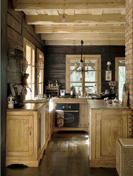 55 Stunning Woodland Inspired Kitchen Themes To Give Your Kitchen A Totally New Look Rustic Cabin Kitchens Small Cabin Kitchens Log Cabin Kitchens