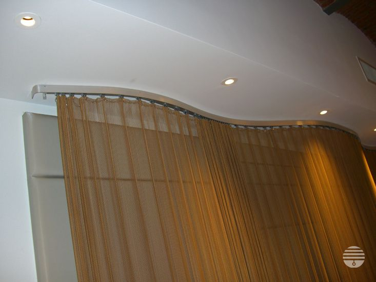 Gold Metal Wire Mesh Curtain Drapery Custom Curved Track Wall