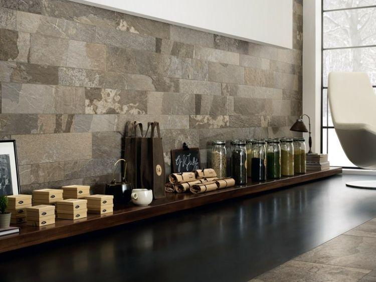 Steinwand im Wohnzimmer \u2013 Wanddeko mit Verblendsteinen Dekoration - wohnzimmer design steinwand