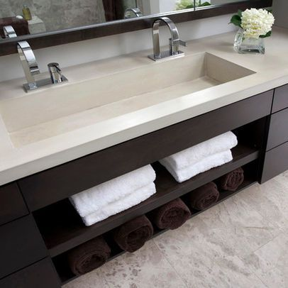 One wide sink two faucets a must in my new house - Bathroom trough sink double faucet ...