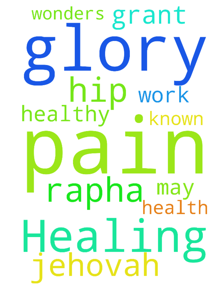 Healing from pain and to be healthy -  Please pray for healing the pain in the hip that the Lord will grant health on me so that I can work again ...thank you Lord you are Jehovah Rapha may your name be known through me as you do wonders Glory glory Lord  Posted at: https://prayerrequest.com/t/m54 #pray #prayer #request #prayerrequest