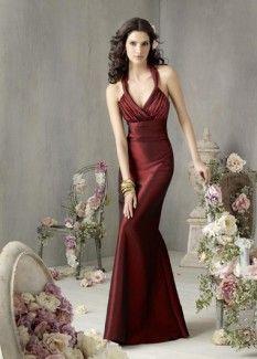 Claret Halterneck Satin Bridesmaid Dresses Of A-line