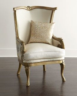 H7G57 Massoud Golden Damask Chair