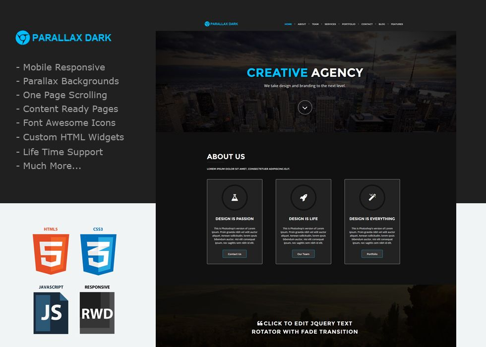 Parallax Dark - A one page Custom Weebly template that will knock your  socks off.