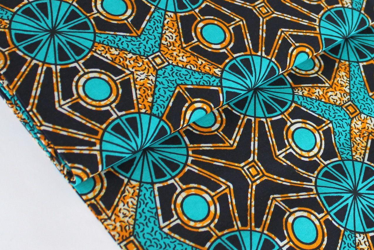 Afrikanischer Wax Print Stoff Turquoise Mosaic Meterware Zum
