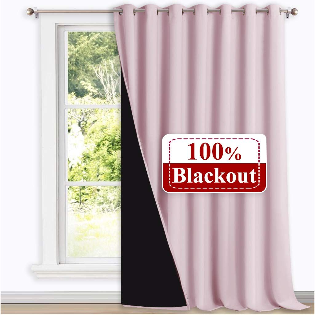 Nicetown Extra Wide 100 Blackout Drape Noise Reducing Performance Slider Curtain Panel With Black Lining In 2020 Curtains Sliding Glass Doors Patio Blackout Drapes