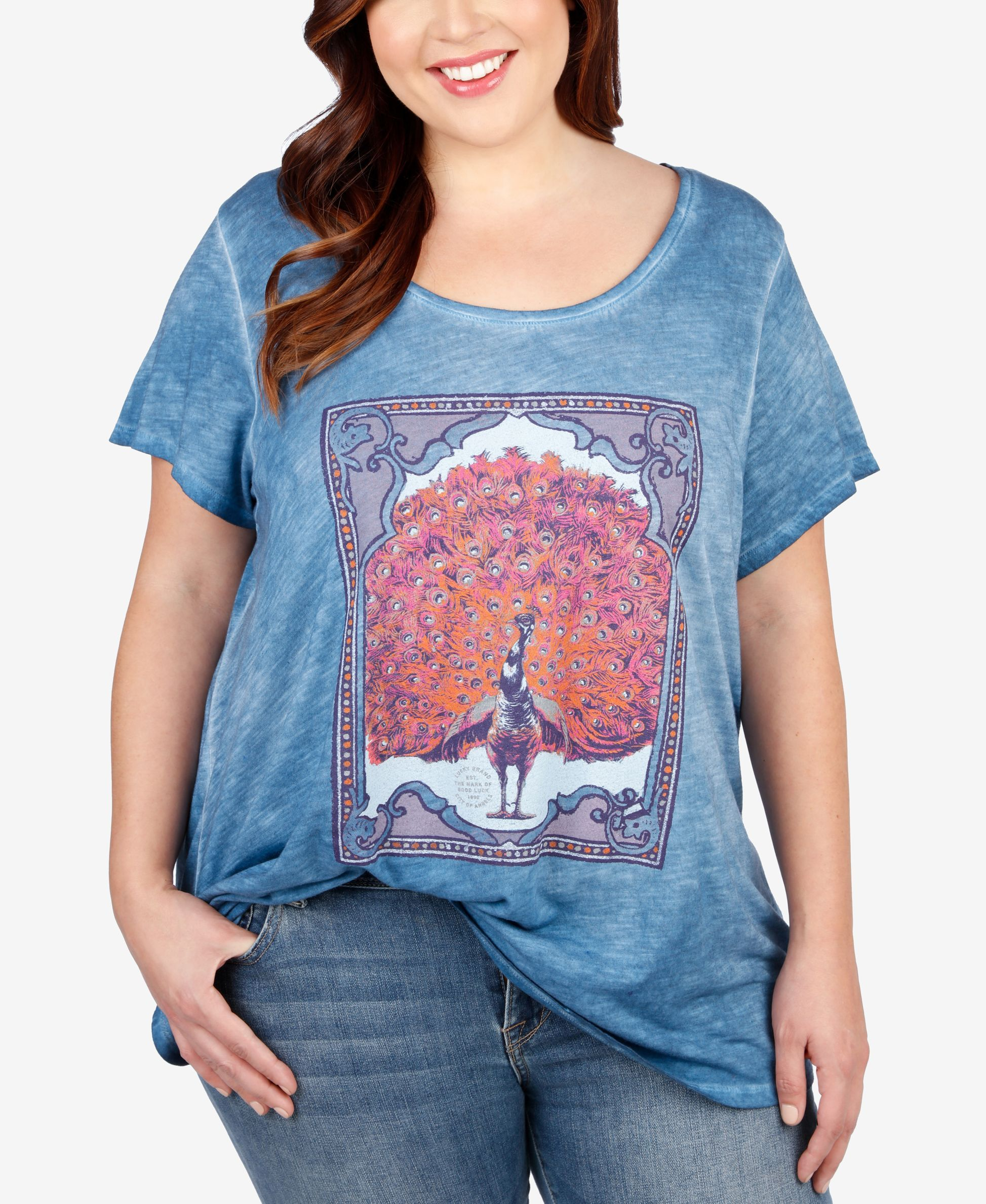 0ab373489e9 Lucky Brand Plus Size Peacock Graphic T-Shirt | Products | Lucky ...