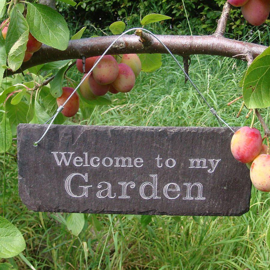 Delightful U0027Welcome To My Gardenu0027 Engraved Slate Sign