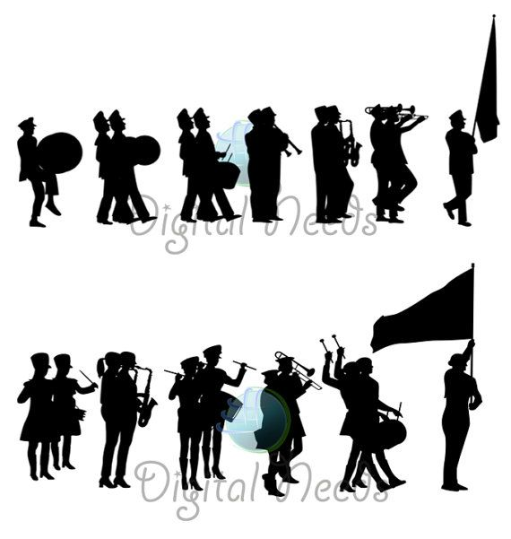 20 Marching Band Silhouettes Clip Art School Silhouettes Png And Source Files Instant Download Silhouette Clip Art Clip Art Silhouette Png