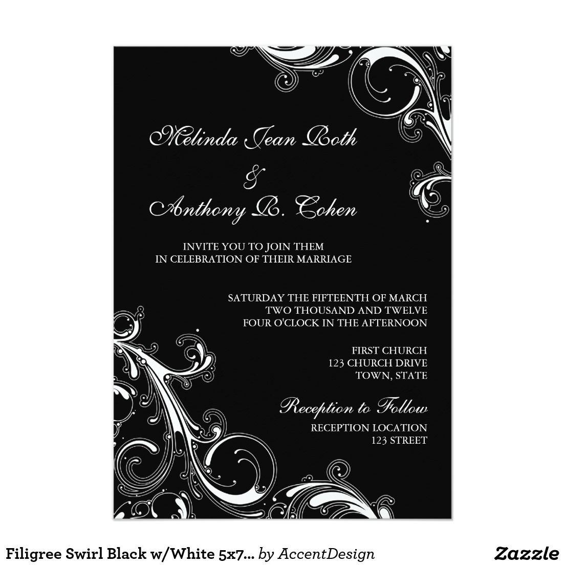 Filigree Swirl Black wWhite 5x7 Wedding Wedding Invitations